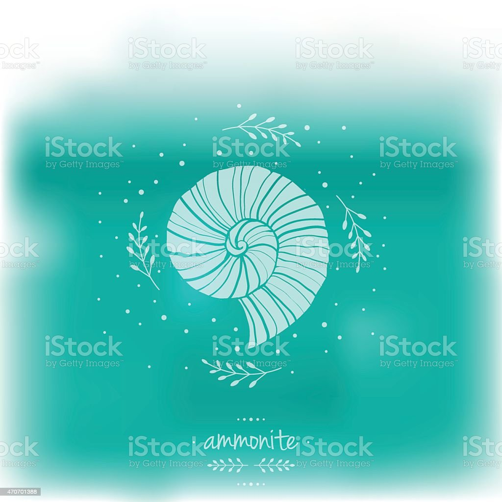 Blurred illustration with ammonites. Vector illustration. Sea theme vector art illustration