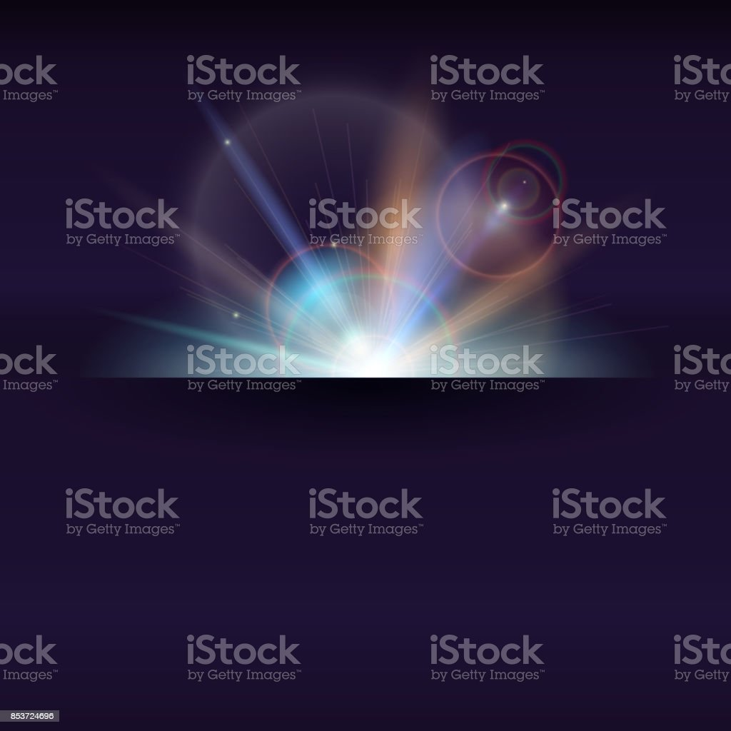 Blurred light rays and lens flare backdrop with place for text. Abstract space sunny poster, glow light effect. Banner with dynamic burst of star, sparkles on backdrop. Vector 3D illustration vector art illustration