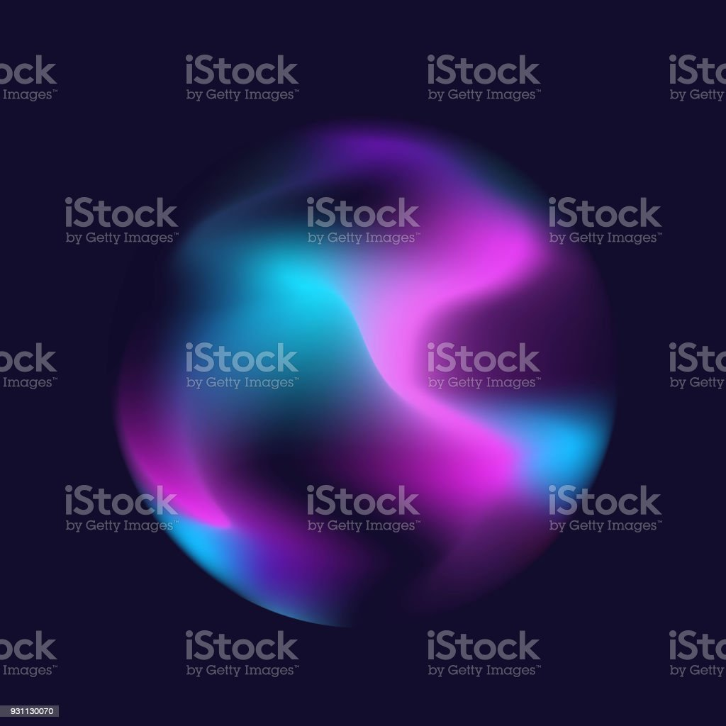 bulanık sıvı elektrik dalgalı holografik ipek soyut yumuşak canlı pembe mavi beyaz mor turkuaz renkleri akışı karışım degrade daire küre koyu mavi zemin üzerine - Royalty-free Akmak Vector Art