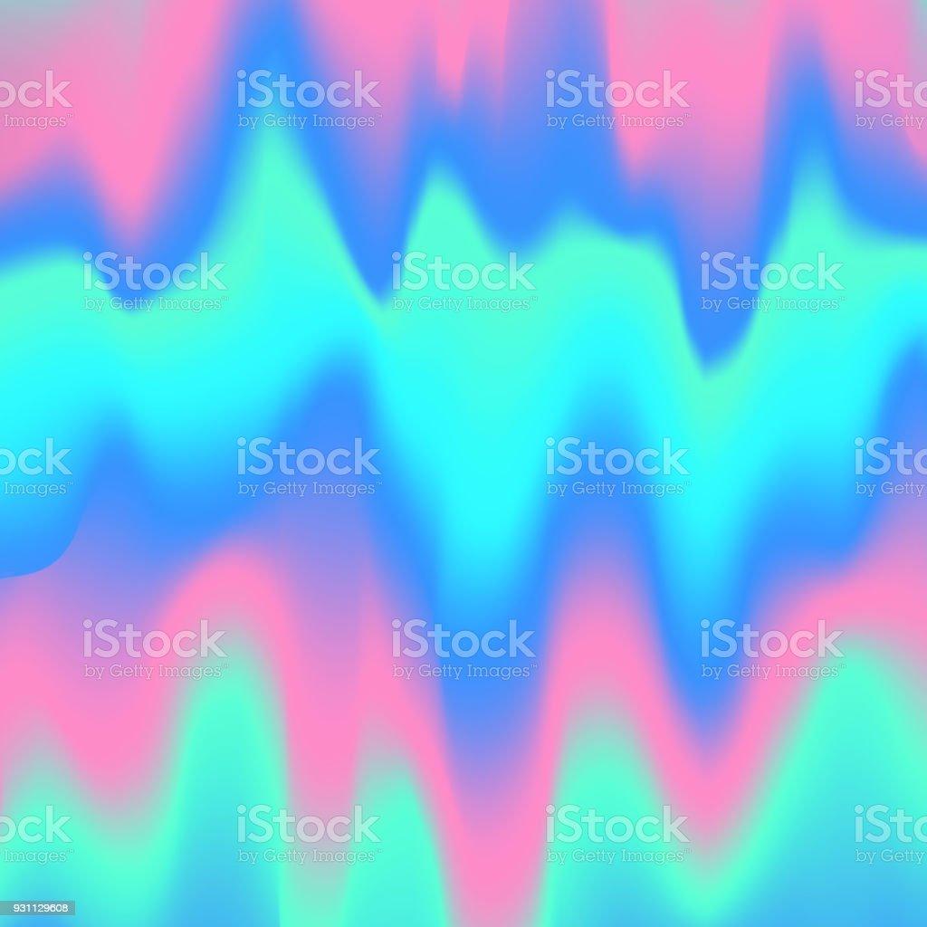 bulanık sıvı dalgalı holografik soyut yumuşak canlı pembe mavi turkuaz renkleri akışı karışımı gradyan arka planı - Royalty-free Akmak Vector Art