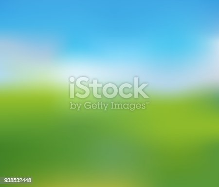 Green Lawn under Clean Blue Sky, Blurred Nature Landscape of Sunny Summer Day, Vector Illustration.