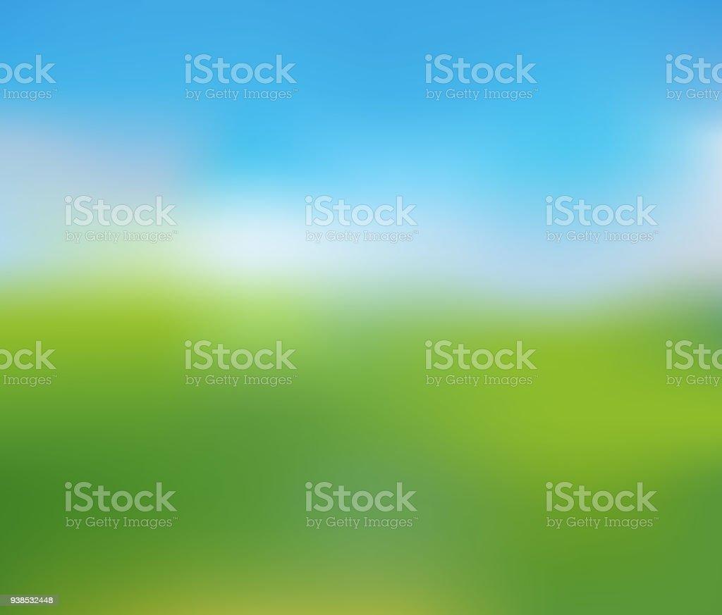 Paysage Nature floue de journée d'été ensoleillée - Illustration vectorielle