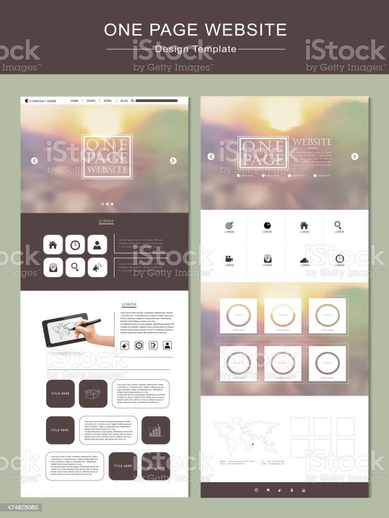 blurred one page website template design vector art illustration