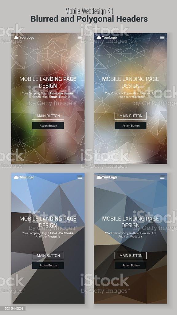 verschwommene polygonale mobile landing seite kit lizenzfreies verschwommene polygonale mobile landingseite kit stock vektor art