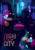 Blurred street lights, urban abstract background. Effect vector beautiful art. Big city nightlife. Blur colorful dark background with cityscape, buildings silhouettes. Brochure, flyer, cover, poster or guidebook template.