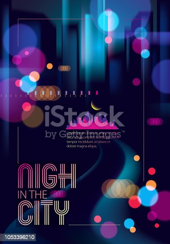istock Blurred street lights, urban abstract background. Effect vector beautiful art. Big city nightlife. Blur colorful dark background with cityscape, buildings silhouettes. Brochure, flyer, cover, poster or guidebook template. 1053396210