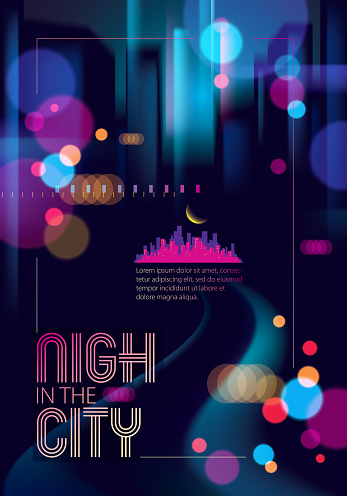 Blurred Street Lights Urban Abstract Background Effect Vector Beautiful Art Big City Nightlife Blur Colorful Dark Background With Cityscape Buildings Silhouettes Brochure Flyer Cover Poster Or Guidebook Template Stock Illustration - Download Image Now