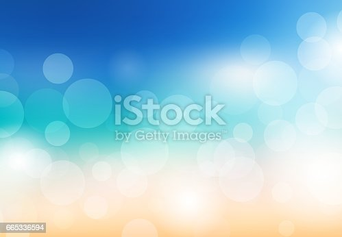 653331540 istock photo Blurred summer background. Beach with sparkles and bokeh. Vector background for your creativity 665336594