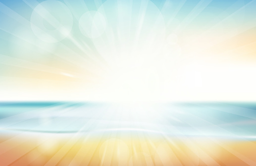 Blurred summer beach sky, sea, ocean and sand landscape for background and wallpaper
