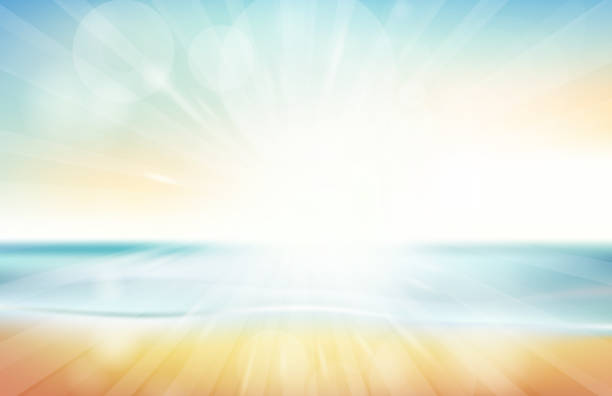 blurred summer beach sky, sea, ocean and sand landscape for background and wallpaper - beach stock illustrations