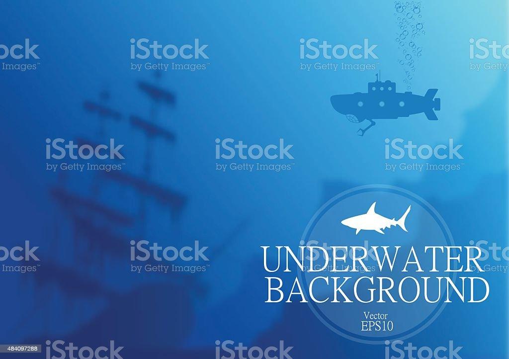 Blurred underwater background vector art illustration