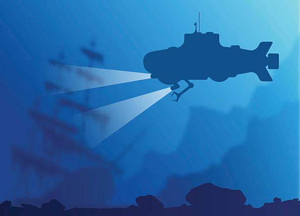 verschwommene unterwasser hintergrund mit u-boot - gesunken stock-grafiken, -clipart, -cartoons und -symbole