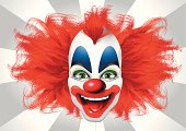 Blurred vision of a bright clown
