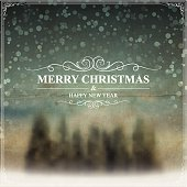 """Greeting card with """"Merry Christmas and Happy New Year"""" lettering."""