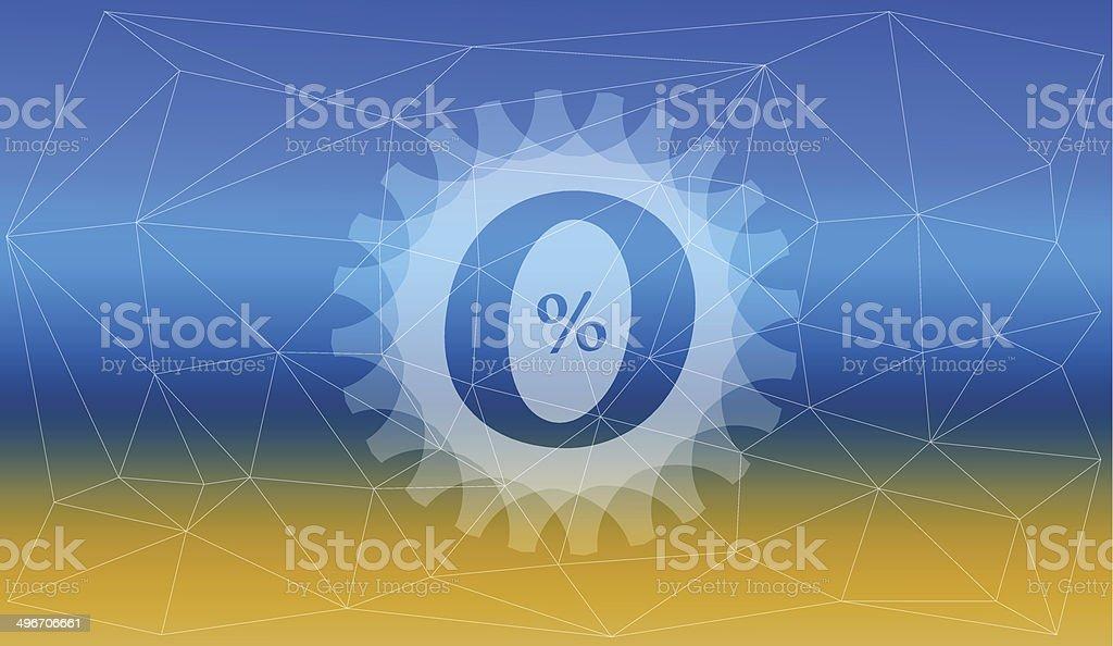 Blurred zero per cent vector art illustration
