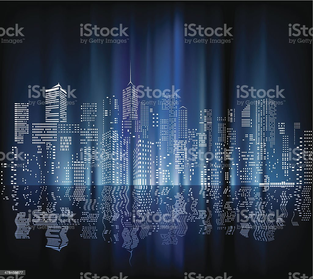 blurry city night vector art illustration