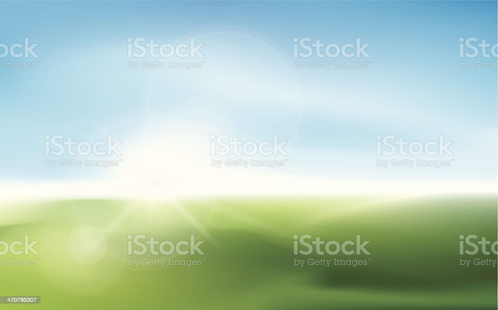 Blurry sunlight on a meadow vector art illustration