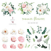istock Blush pink rose and sage greenery, ivory peony, hydrangea, ranunculus flowers 1209904373