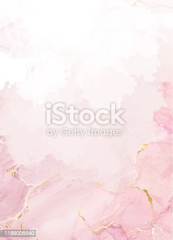 istock Blush pink watercolor fluid painting vector design card 1199005540