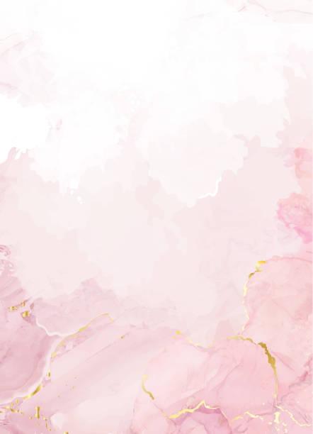 rumieniec różowy akwarela płynu obraz karty projektowej wektor - różowy stock illustrations