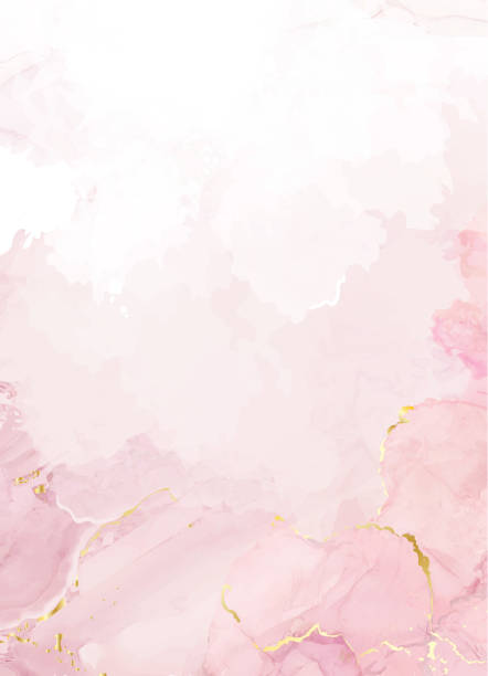 Blush pink watercolor fluid painting vector design card Blush pink watercolor fluid painting vector design card. Dusty rose and golden marble geode frame. Spring wedding invitation. Petal or veil texture. Dye splash style. Alcohol ink.Isolated and editable marbled effect stock illustrations