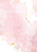 istock Blush pink watercolor fluid painting vector design card. 1283589391