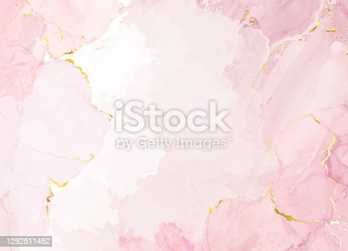 istock Blush pink watercolor fluid painting vector design card. 1292511452