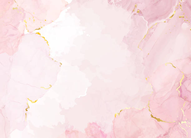 Blush pink watercolor fluid painting vector design card. Blush pink watercolor fluid painting vector design card. Dusty rose and golden marble geode frame. Spring wedding invitation. Petal or veil texture. Dye splash style. Alcohol ink.Isolated and editable femininity stock illustrations