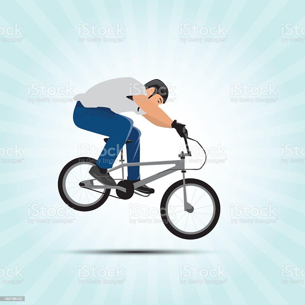 Bmx cyclist vector illustration. Bmx sport art. Bmx jump. vector art illustration
