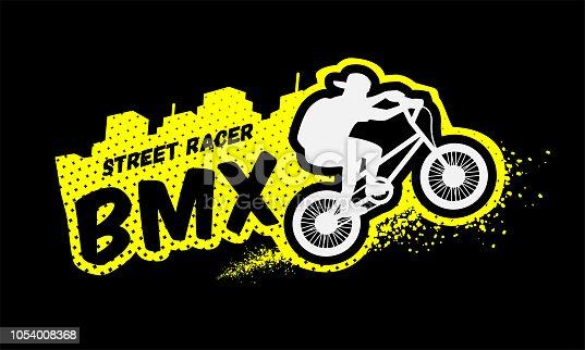Bmx racer, emblem in grunge style on a dark background.