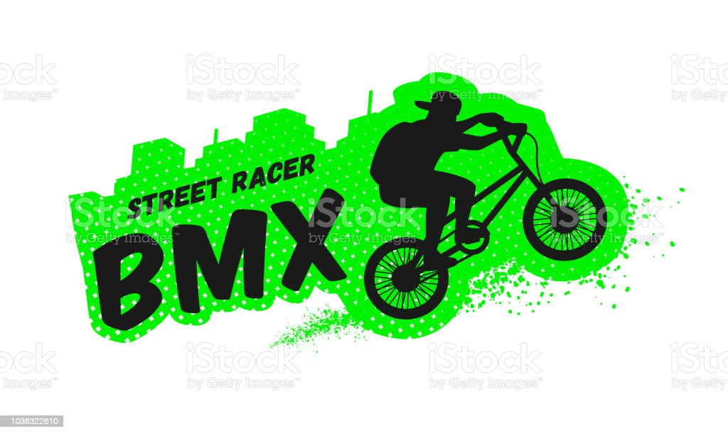 Bmx street racer, emblem, logo in grunge style. Vector illustration