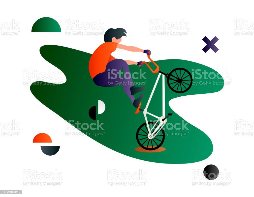 Bmx. Vector cartoon flat bmx rider. Bmx sport art. Creative vector...