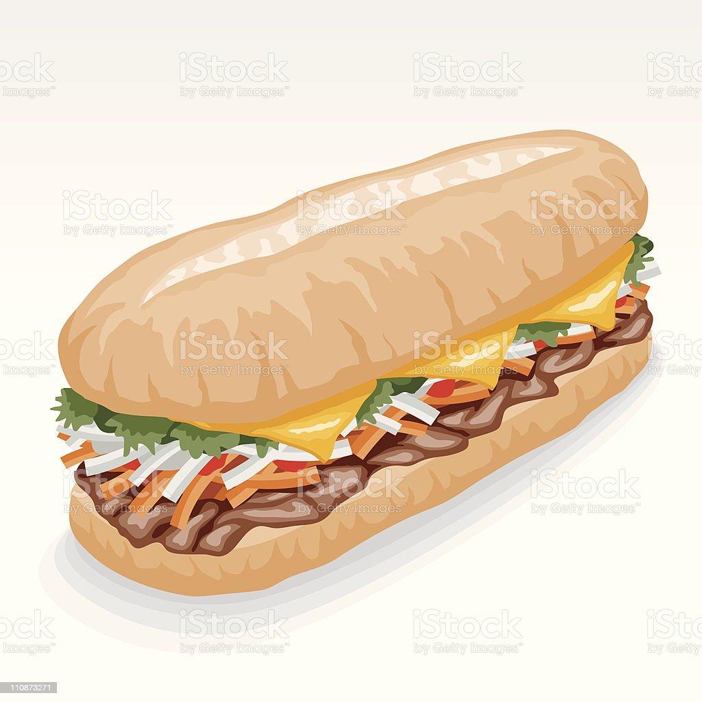 Bánh mì (vietnamese sub sandwich) vector art illustration