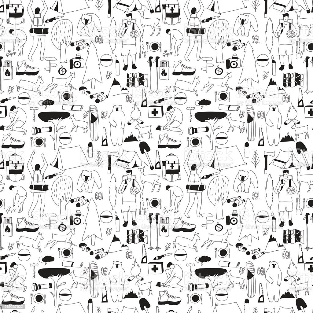 bnw camping pattern royalty-free bnw camping pattern stock vector art & more images of activity