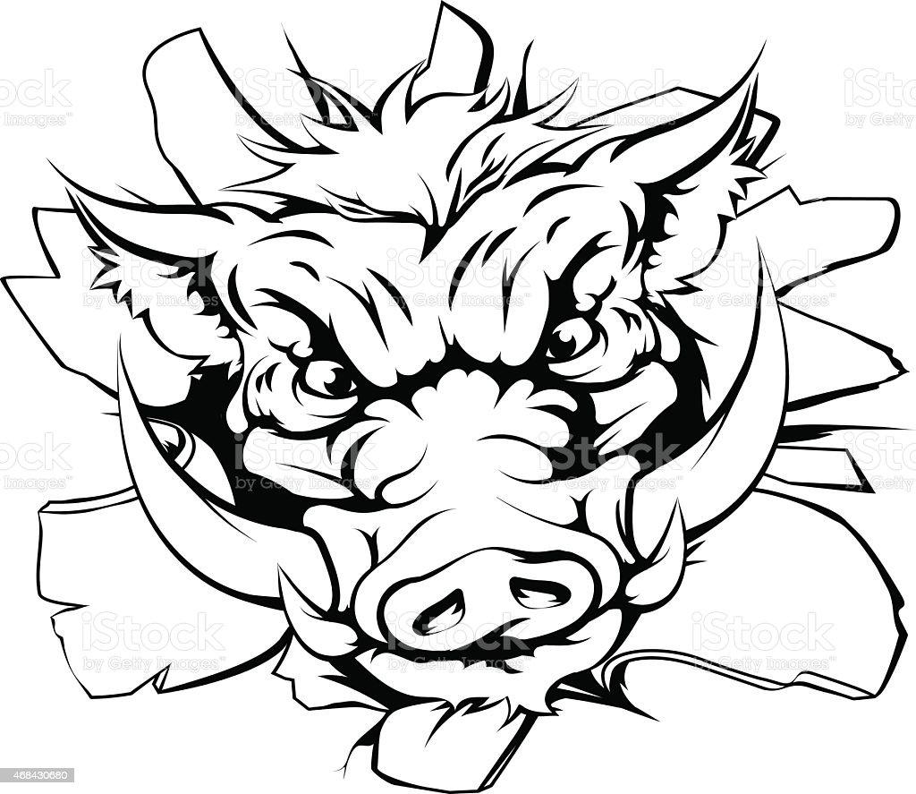 Boar charging through background vector art illustration