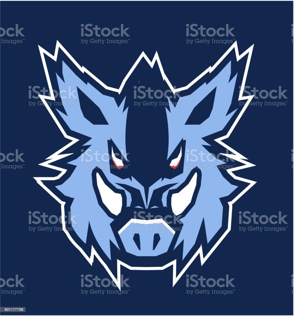 boar head emblem vector art illustration