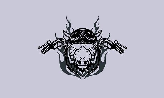 Boar Head Motorcycle Club Logo Illustration