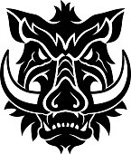 Isolated vector illustration of fearsome wild boar or pig, front view head.