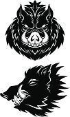 Two stylized boar heads (monochrome). Easy to change colours. Ready for cutting plotter.