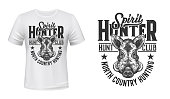 Boar hunt club t-shirt print mockup, wild animal hunting, vector emblem. Wild aper hog or forest boar muzzle head, North Country Hunting slogan, club mascot sign or badge in sketch for t shirt print