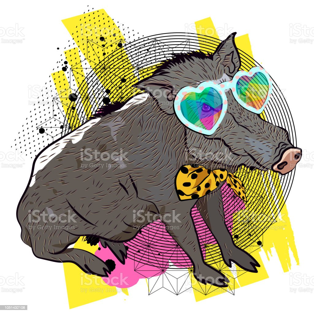 虹色に輝くガラスのイノシシ動物のクールなイラスト