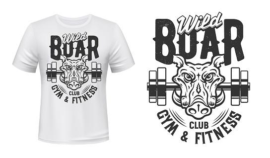 Boar print t-shirt mockup, gym fitness sport club