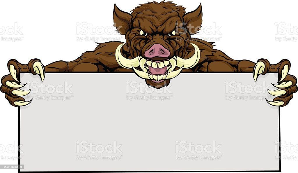 Boar Razorback Sign vector art illustration