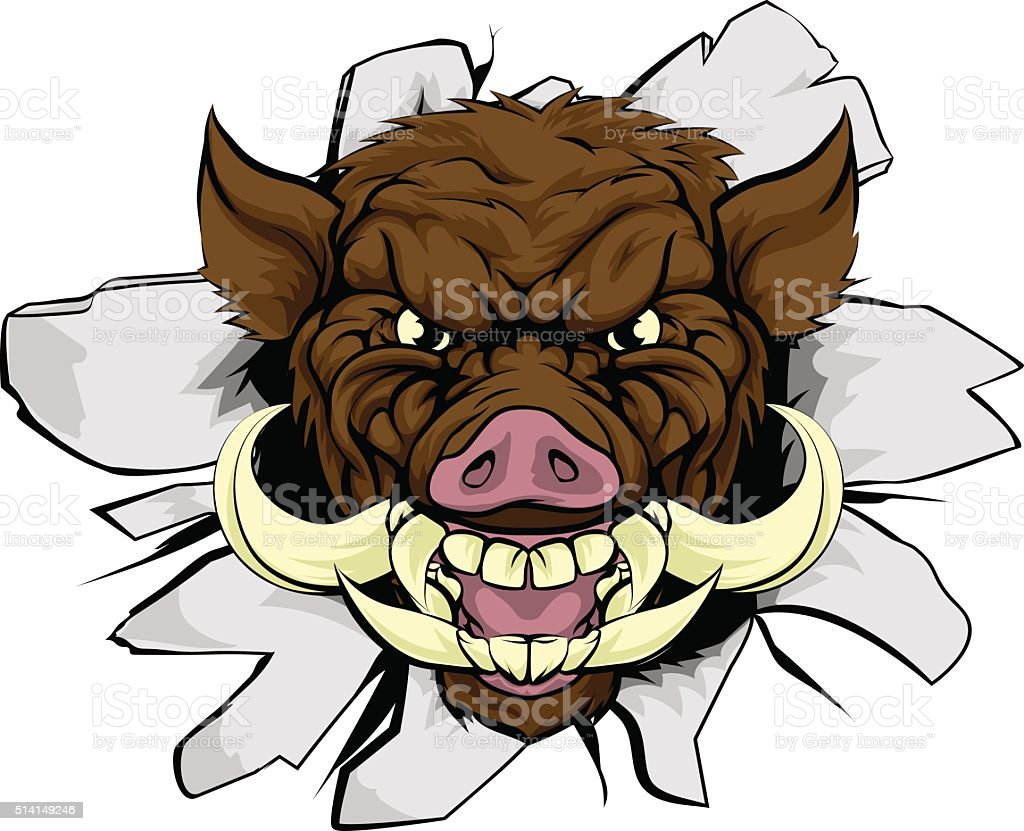 Boar Warthog Sports Mascot vector art illustration