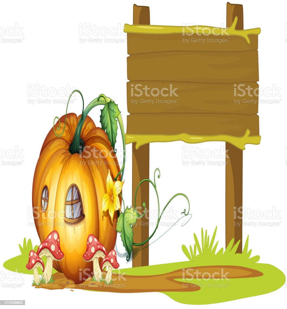 Board and pumpkin house royalty-free stock vector art