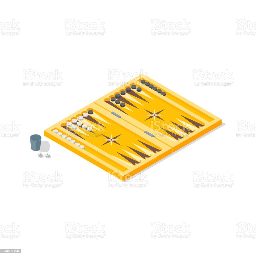 Ilustracion De Juego De Mesa Backgammon Vista Isometrica Vector De Y