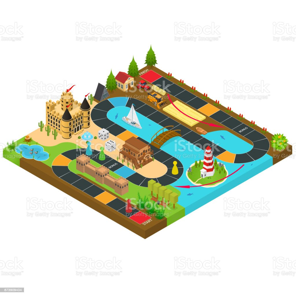 Board Game Concept 3d Isometric View. Vector vector art illustration