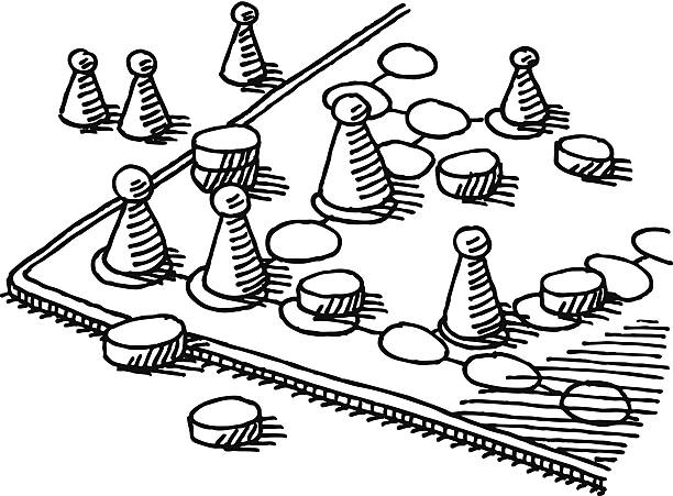 Board Game Drawing Hand-drawn vector drawing of a generic Board Game. Black-and-White sketch on a transparent background (.eps-file). Included files are EPS (v10) and Hi-Res JPG. game stock illustrations