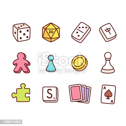 Board game icons in hand drawn cartoon style. Dice and play pieces, markers and cards. Vector clip art illustration.