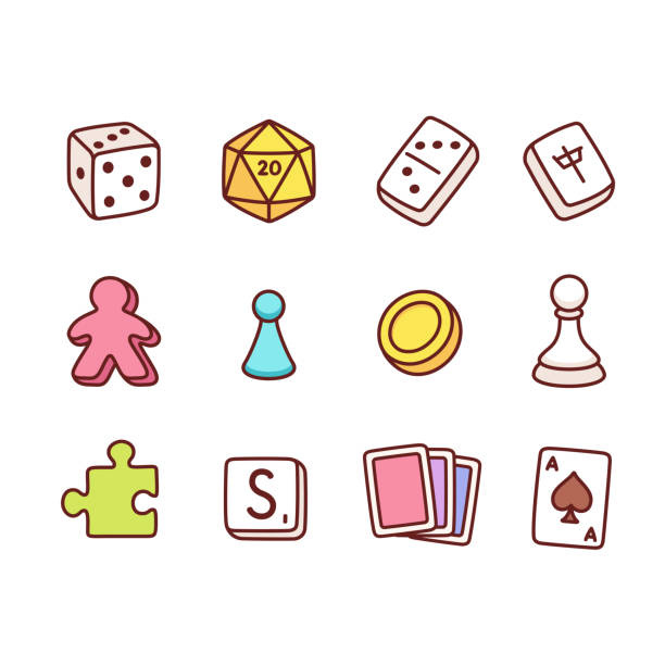 Board game icons Board game icons in hand drawn cartoon style. Dice and play pieces, markers and cards. Vector clip art illustration. leisure games stock illustrations